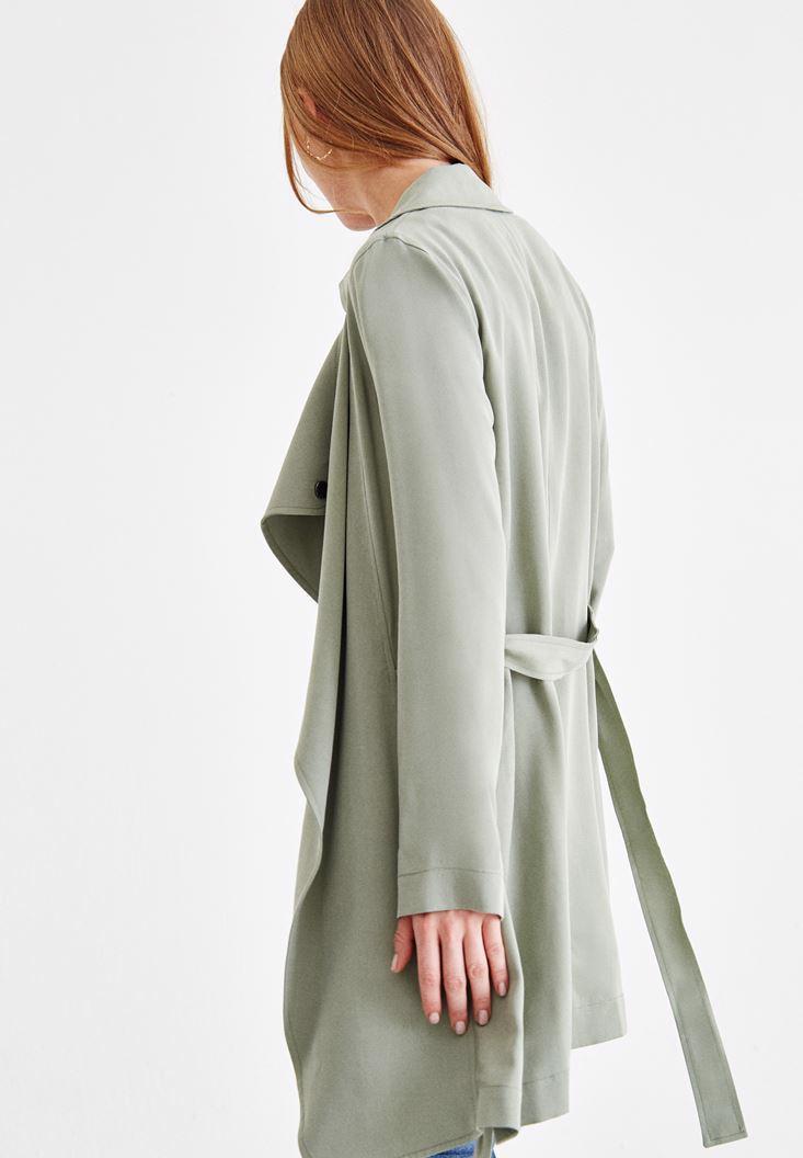 Women Green Trenchcoat with Neck Details