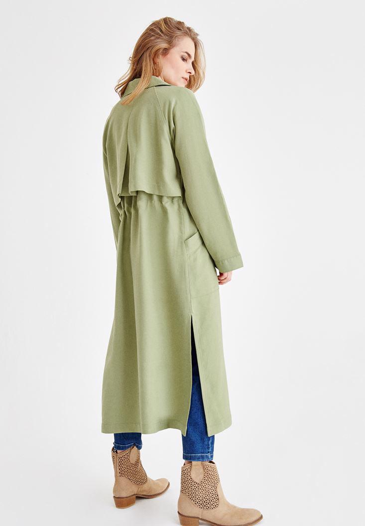 Women Green Trenchcoat with Pocket Details