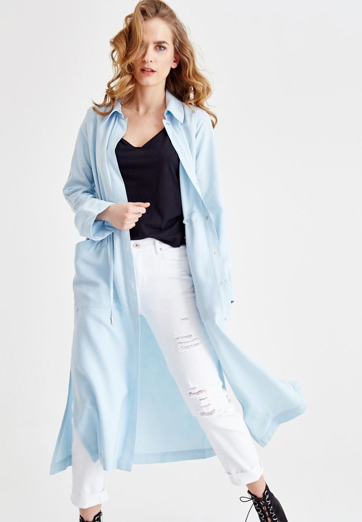 Blue Trenchcoat with Pocket Details