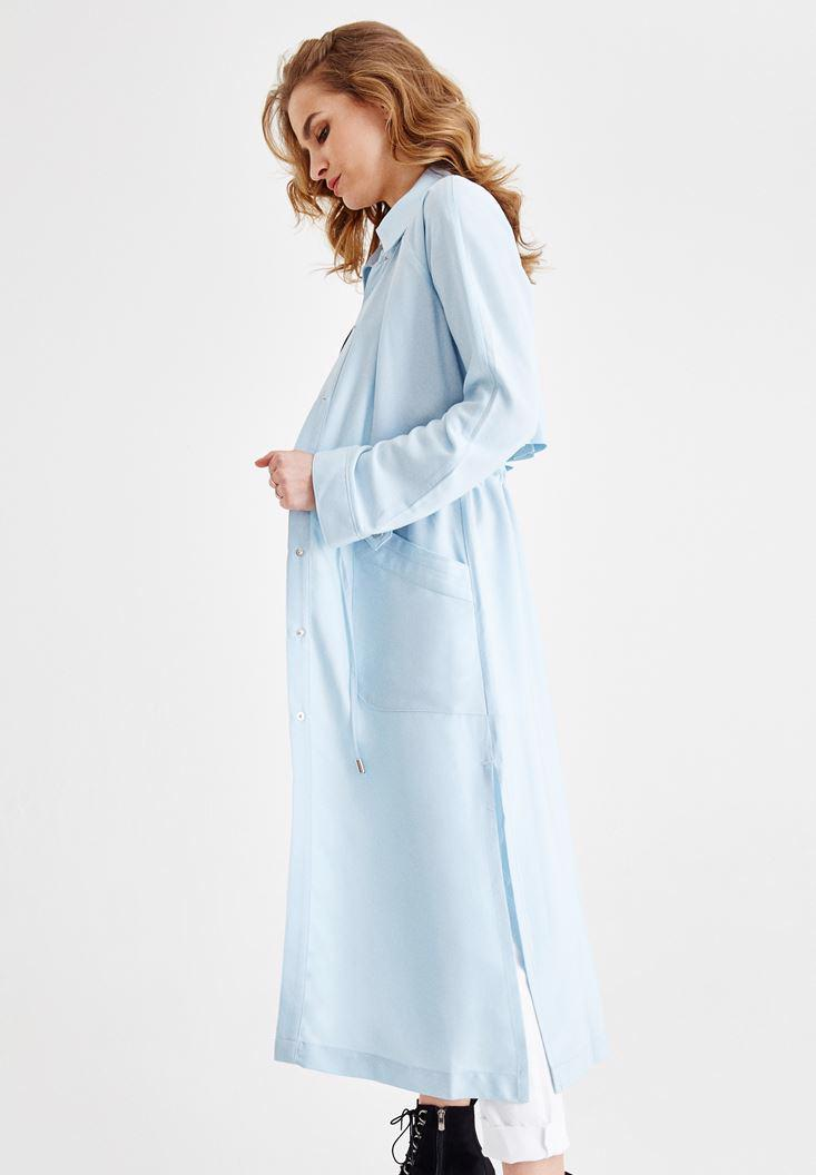 Women Blue Trenchcoat with Pocket Details