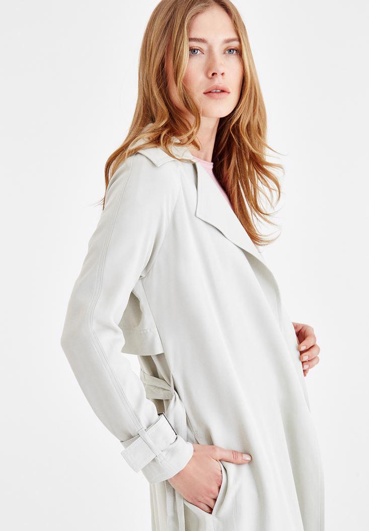 Women Cream Long Sleeve Trenchcoat with Details