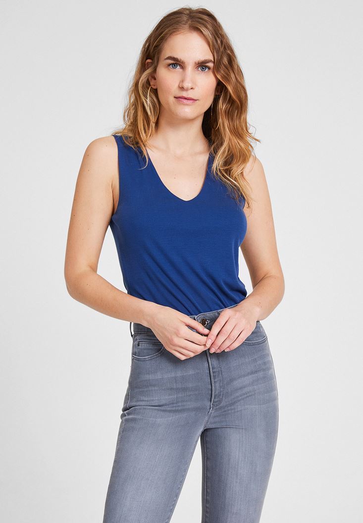 Navy Lyocell V Neck Blouse