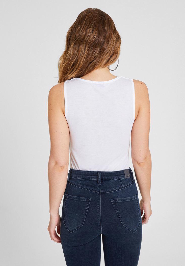 Bayan Beyaz Liyosel V Yaka Bluz