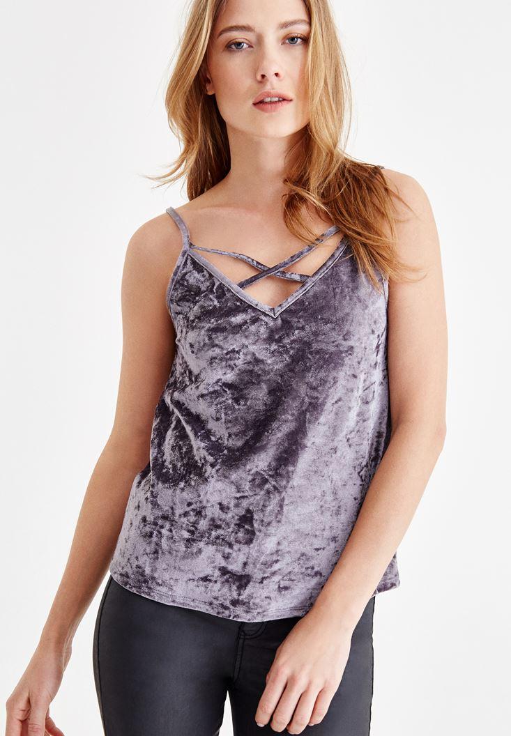 Purple Velvet Blouse with Pipe Detail