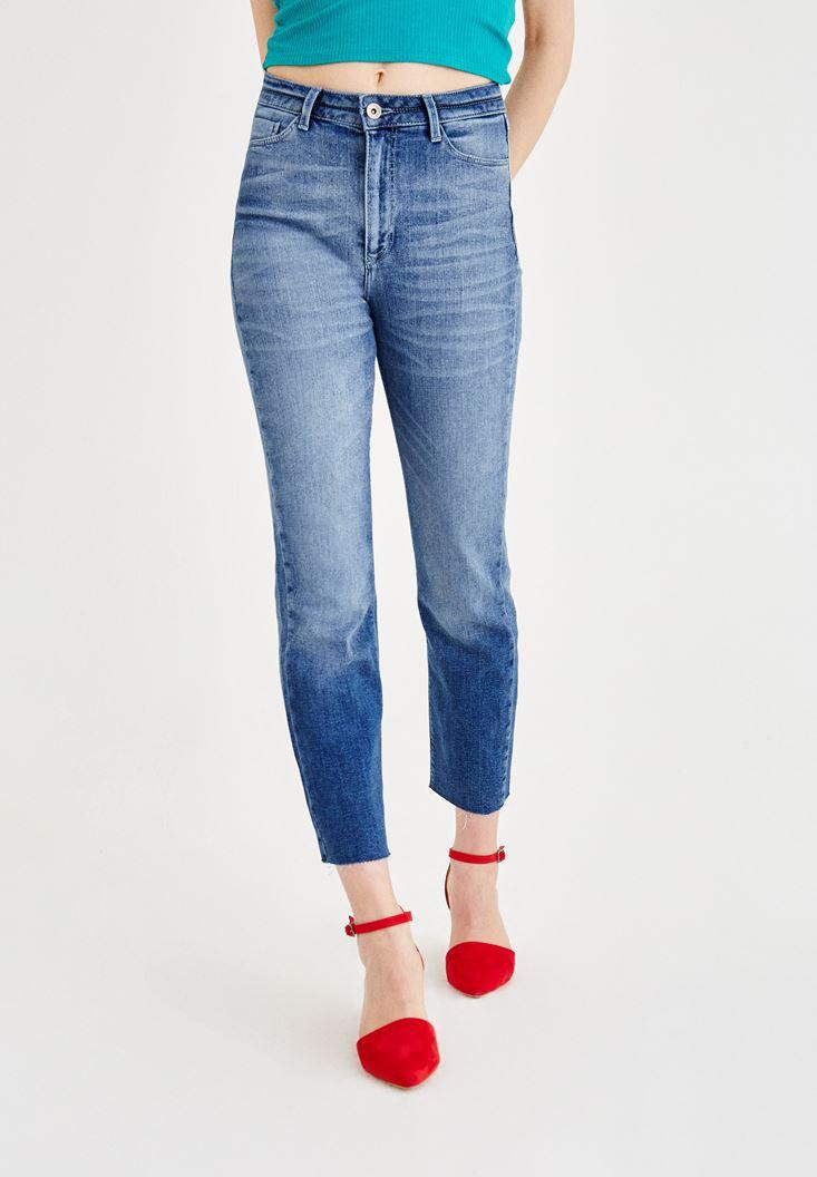 Mavi Ultra Yüksek Bel Boru Paça Pantolon