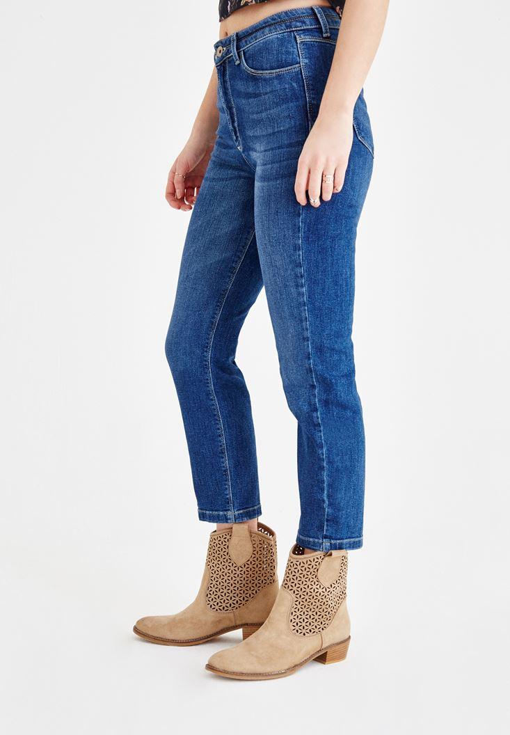 Bayan Mavi Ultra Yüksek Bel Boru Paça Pantolon