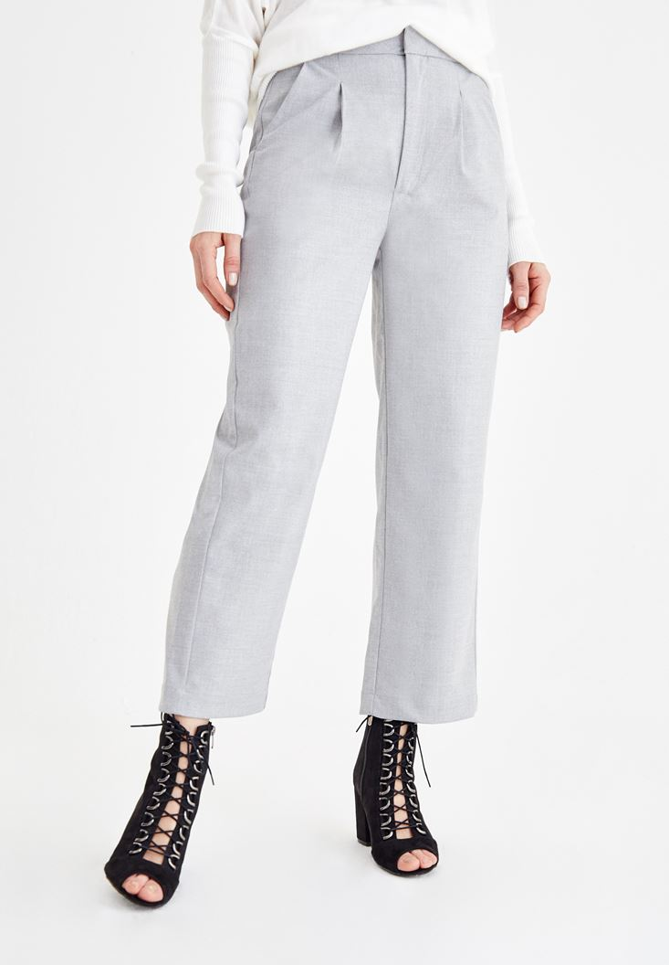 Gri Yüksek Bel Bol Paça Pantolon
