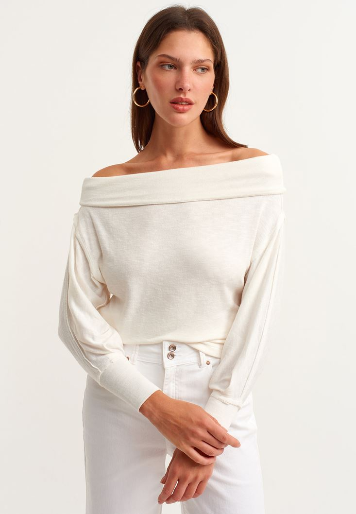 Cream Off Shoulder Long Sleeve Knitted Pullover