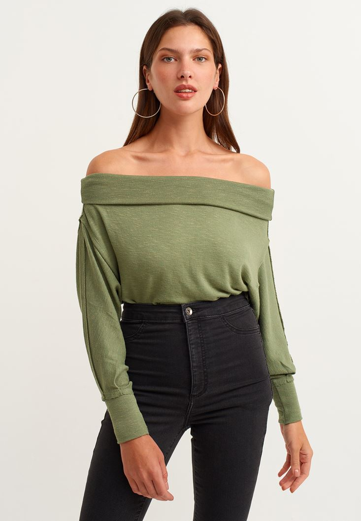 Green Off Shoulder Long Sleeve Knitted Pullover