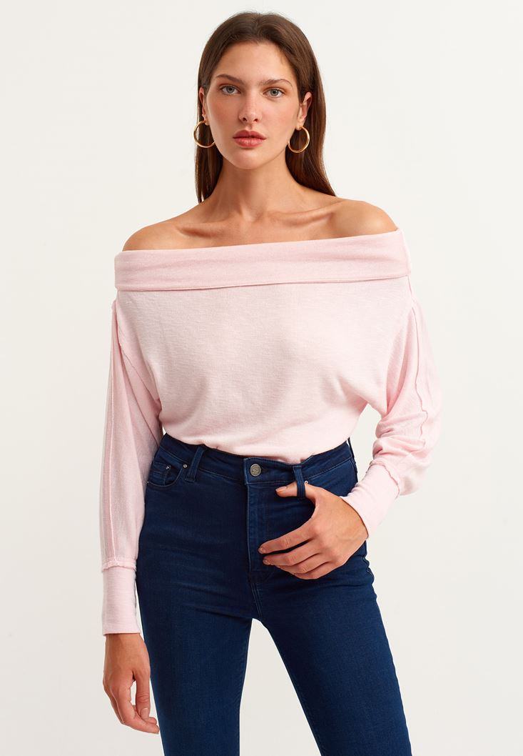Pink Off Shoulder Long Sleeve Knitted Pullover