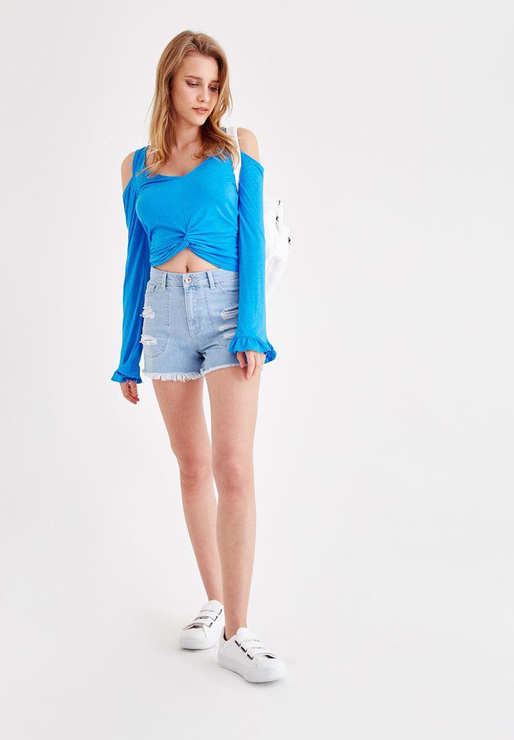 Bayan Mavi Kolları Fırfır Detaylı Tişört