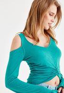 Bayan Yeşil Kolları Fırfır Detaylı Tişört