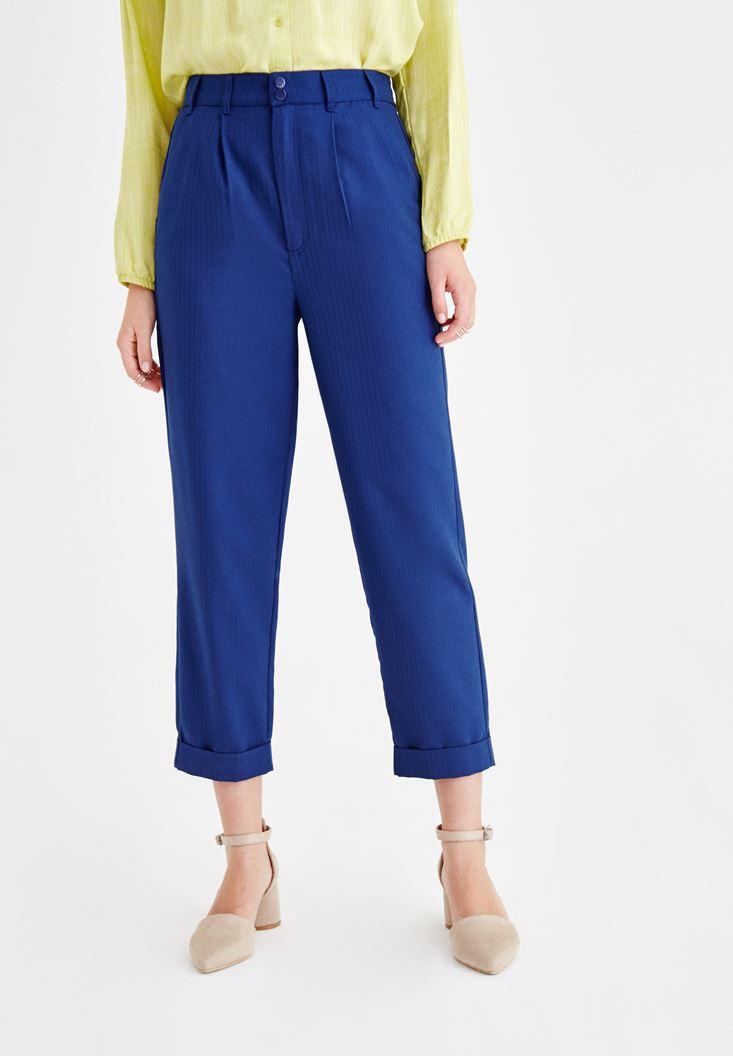 Lacivert Yüksek Bel Boru Paça Pantolon