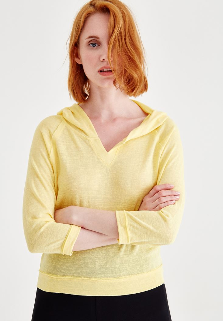 Yellow V Neck Sweatshirt with Hood
