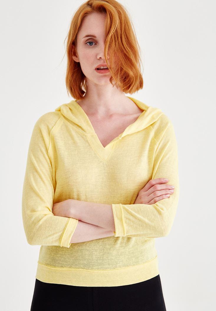 Sarı Kapüşonlu Yaka Detaylı Sweatshirt