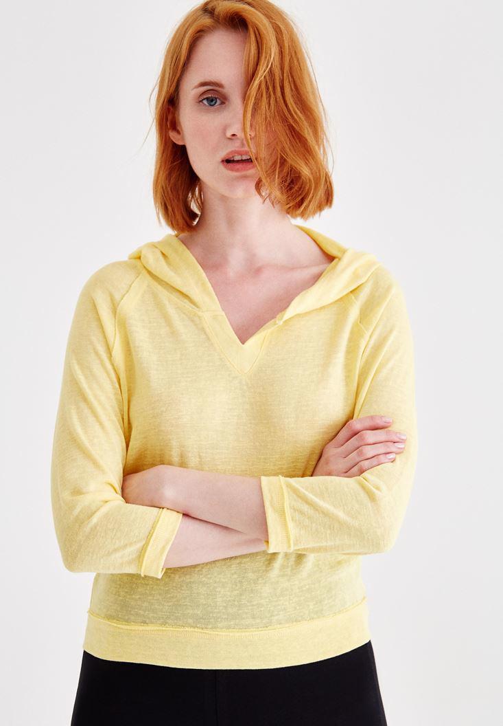 Bayan Sarı Kapüşonlu Yaka Detaylı Sweatshirt