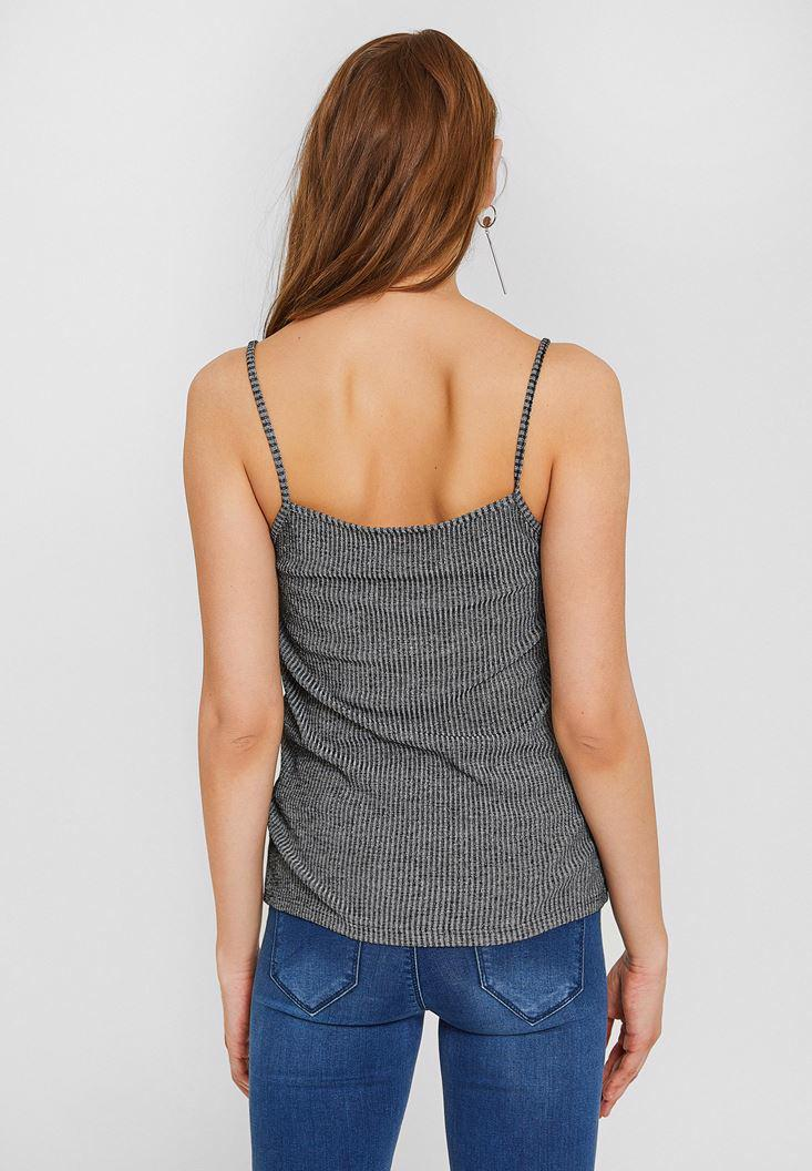 Women Grey Tank with V Neck and Lace
