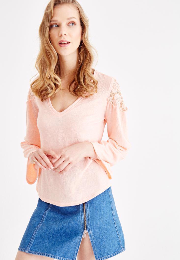 Bayan Pembe Uzun Kollu Dantel Detaylı Bluz
