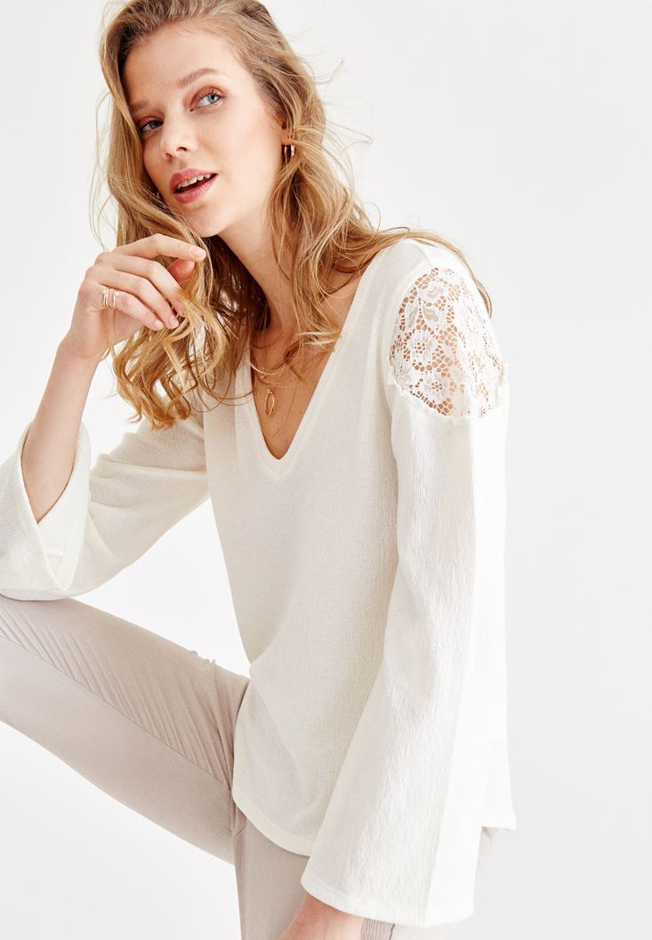 Cream Long Sleeve Blouse with V Neck and Lace Details