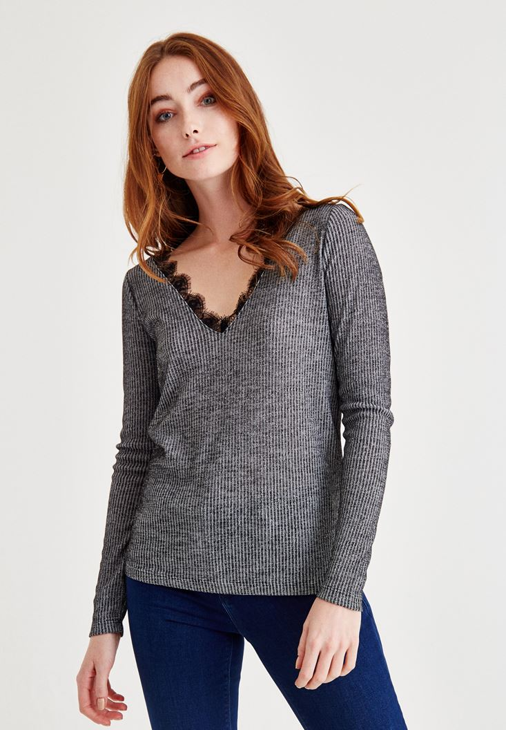 Grey V Neck Knitwear with Back Details