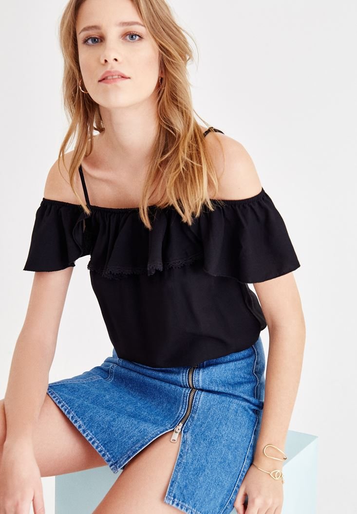 Black Off Shoulder Blouse with Ruffle Details