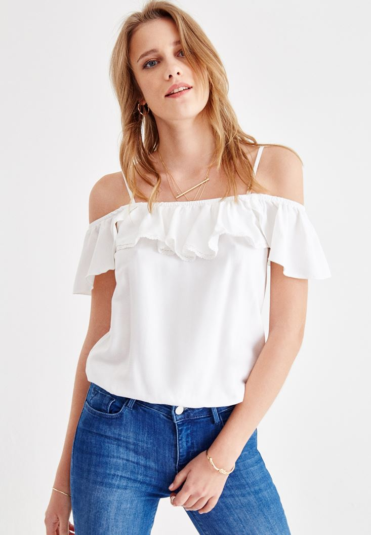 Cream Off Shoulder Blouse with Ruffle Details
