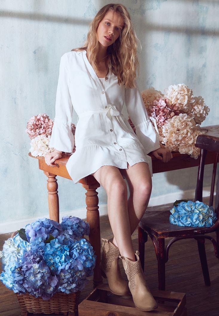 Krem Beli Bağlamalı Gömlek Elbise