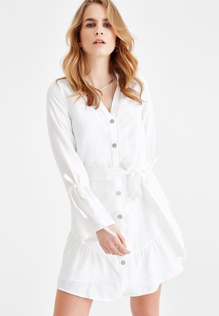 Bayan Krem Beli Bağlamalı Gömlek Elbise
