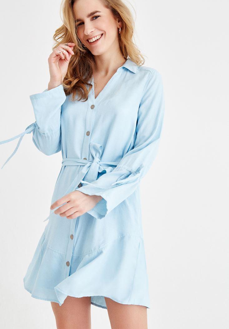 Mavi Beli Bağlamalı Gömlek Elbise