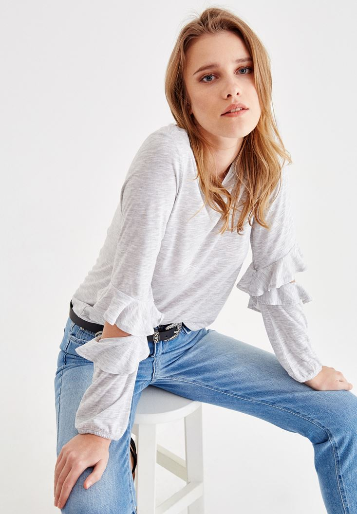 Grey T-Shirt with Sleeve Details