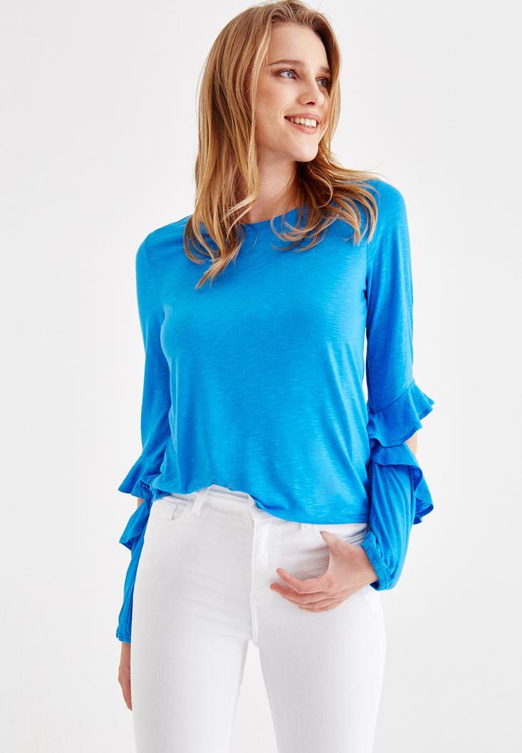 Mavi Kolları Fırfırlı Tişört