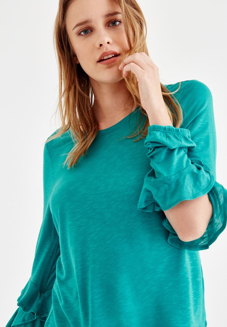 Green T-Shirt with Sleeve Details