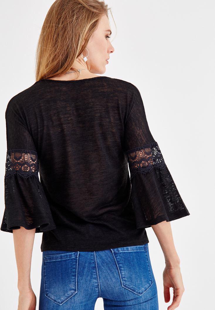 Bayan Siyah V Yaka Kolları Dantel Detaylı Bluz