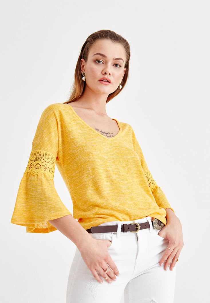 Yellow V Neck Blouse with Lace Detailed