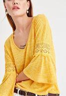 Bayan Sarı V Yaka Kolları Dantel Detaylı Bluz