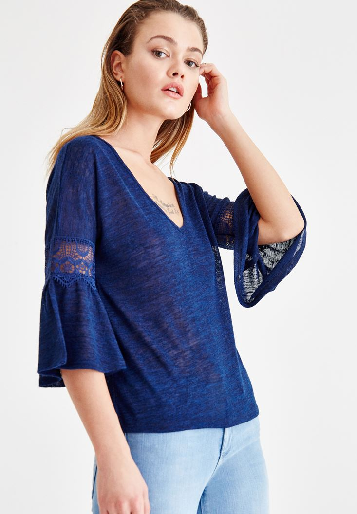 Navy V Neck Blouse with Lace Detailed