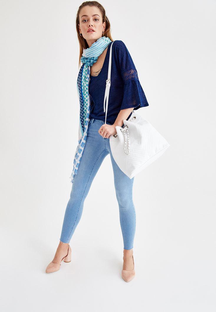 Lacivert Bluz ve Denim Pantolon Kombini