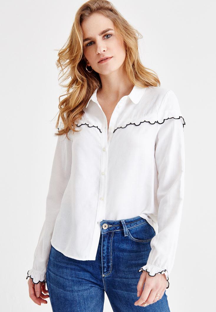Bayan Krem Detaylı Gömlek