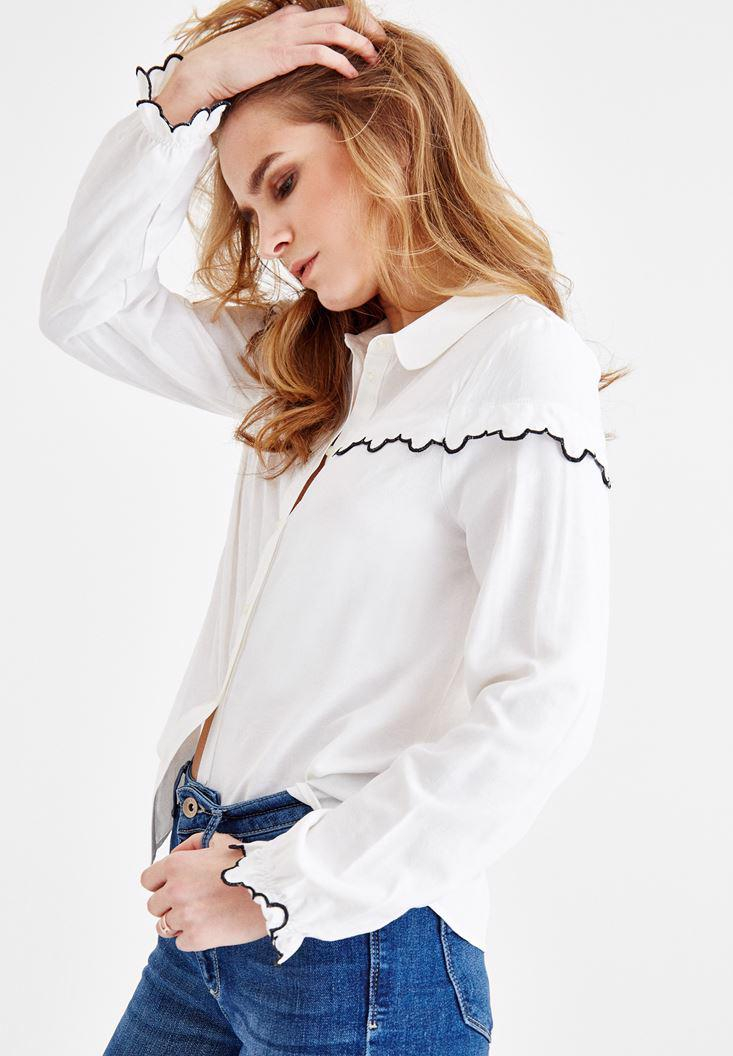 Women Cream Shirt with Details