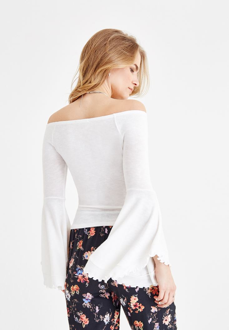 Women Cream Off Shoulder Blouse with Sleeve Details