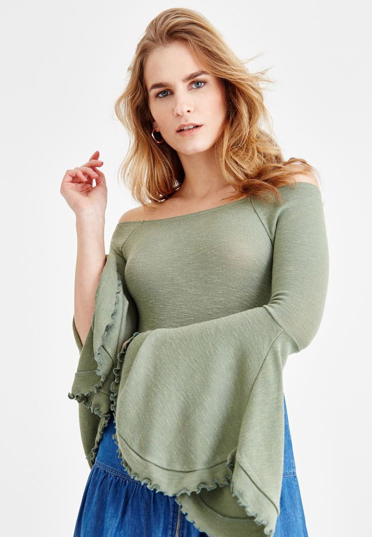 Green Off Shoulder Blouse with Sleeve Details