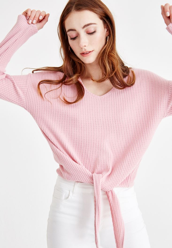 Pink V Neck Knitwear with Cord Details
