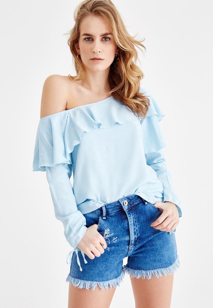 Mavi Düşük Omuzlu Fırfır Detaylı Bluz
