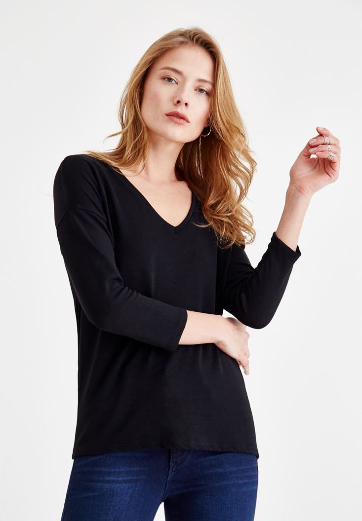 Black Long Sleeve V Neck Basic T-Shirt