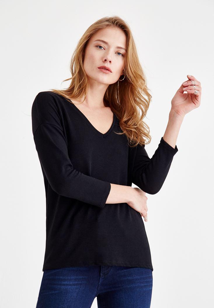 Siyah Uzun Kollu V Yaka Basic Tişört
