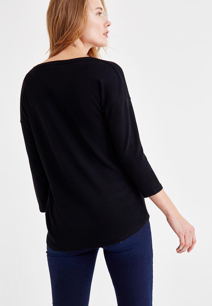 Bayan Siyah Uzun Kollu V Yaka Basic Tişört