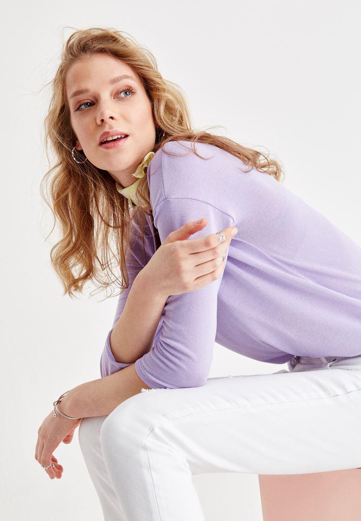 Purple Long Sleeve V Neck Basic T-Shirt