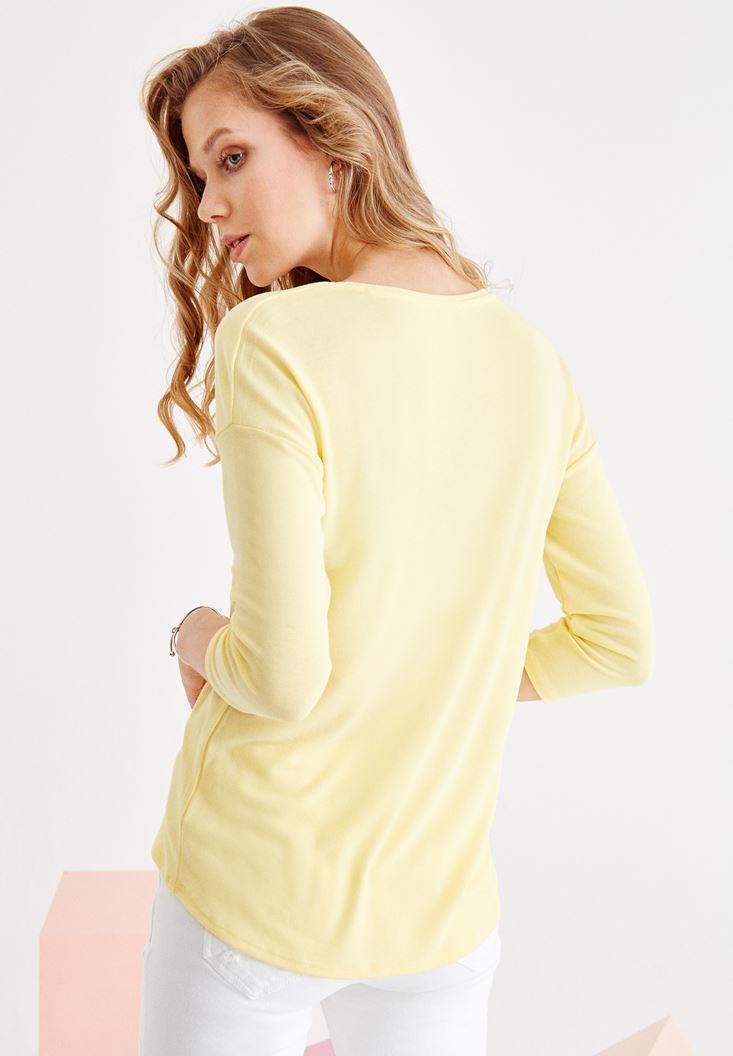 Bayan Sarı Uzun Kollu V Yaka Basic Tişört