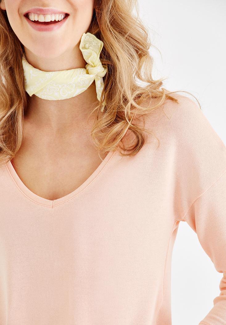 Bayan Pembe Uzun Kollu V Yaka Basic Tişört