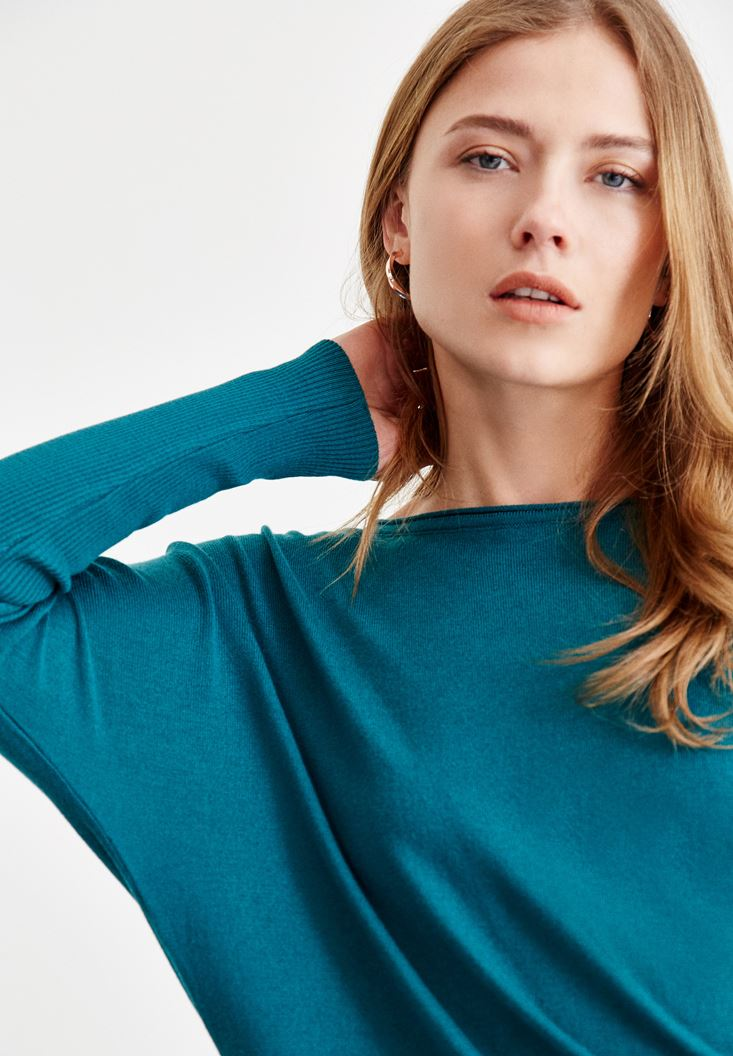 Blue Knitwear with Boot Neck Details